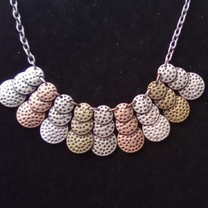 Silver, Brass, Copper Fashion Necklace.